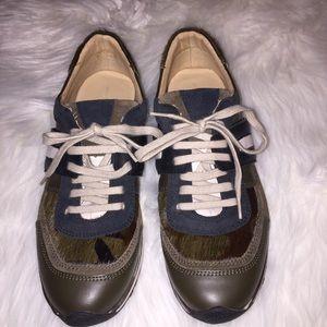 Zara Basics | Lace Up Tennis Shoes 9 Olive Black